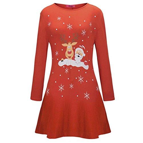 Damen Weihnachtskleid Sonnena Christmas Kleider Langarmshirt Xmas Elch Gedruckt A-Line Swing Kleid Abendkleid Kleid Mini Kleid Partykleid Großen Cocktailkleid Dress (Rot, S)