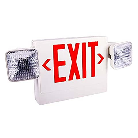 Generic LED Exit Sign Emergency Light Combo With Battery Back-Up ETL Listed 2 LED Light Heads Wet Location Led Emergency Exit Sign Light