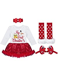 Alvivi Bébés Filles Mon 1er Noël Costume Robe de fête Tutu Outfit Ensemble  4PCS Déguisement Noël Vêtement de Baptême Body Nouvelle… 3579a2659b5