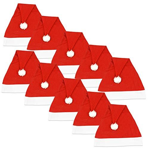 Ciffre 10 Stück im Set Weihnachtsmütze Nikolausmütze Winter Mütze Mützen Nikolaus Santa Rot