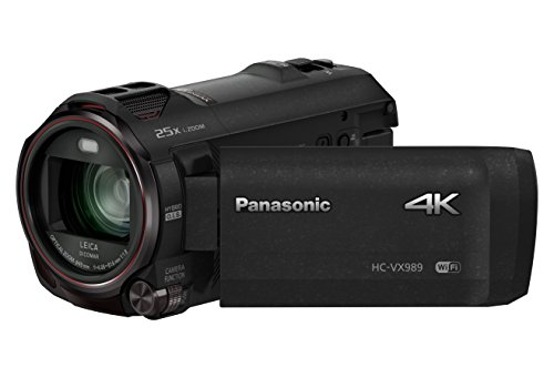 Panasonic HC-VX989 4K Camcorder (LEICA DICOMAr Objektiv mit 20x opt. Zoom, 4K und Full HD Video, opt. Bildstabilisator 5 Achsen, HDR Video) schwarz