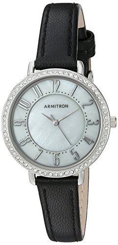 Armitron Women's 75/5403MPSVBK Swarovski Crystal Accented Easy To Read Black Leather Strap Watch