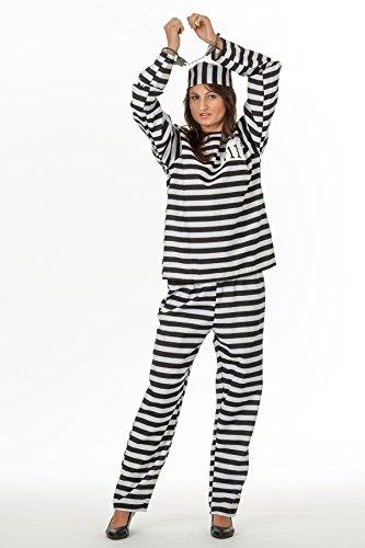 lingskostüm Anzug Langarm und Kappe Sträfling Häfting Kostüm Gefängnis Frauen Knast Groesse: 4XL/5XL (Gefängnis Halloween Kostüme)