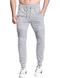 StyleDome Hombre Pantalones Largos Deportivos Chándal Algodón Fitness Joggings Bolsillo Cordón