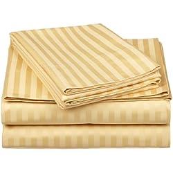 Superior - Juego de sábanas 168 x 203 cm, esquineras Profundas, de algodón de 650 Hilos y de un Solo Cabo, Color Dorado a Rayas, 4 Piezas