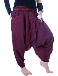 Vishes – Alternative Bekleidung – Baumwoll Haremshose mit gestreiftem oder farbigem Bund