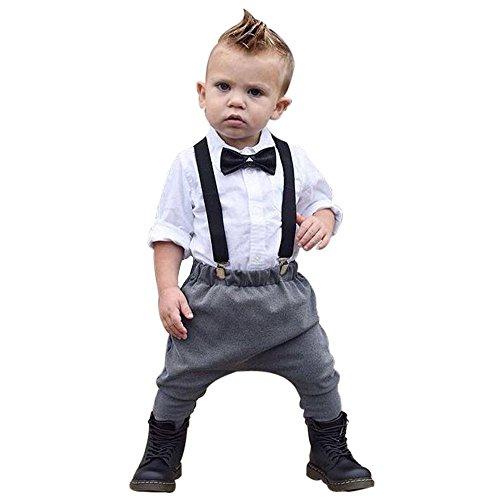 2 Stücke Kinder Baby Boy Gentleman Hübsches Hemd + Hosen Strap Overall Kleidung Outfits Set Moginp(White,80) Baby Boy-white-hosen