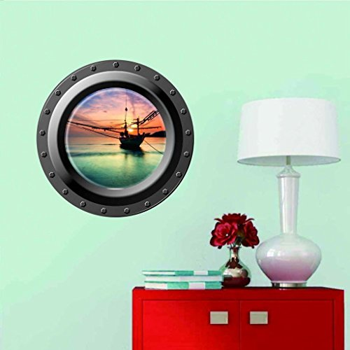 Clest F&H 3D Wall Art Submarine Romantic Modern Home Decor Removable Decal Room Vinyl Wall Sticker 43cm*43cm by Clest F&H