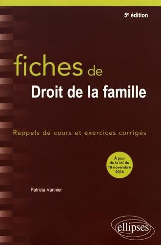 Fiches de Droit de la Famille 5e Édition par Patricia Vannier