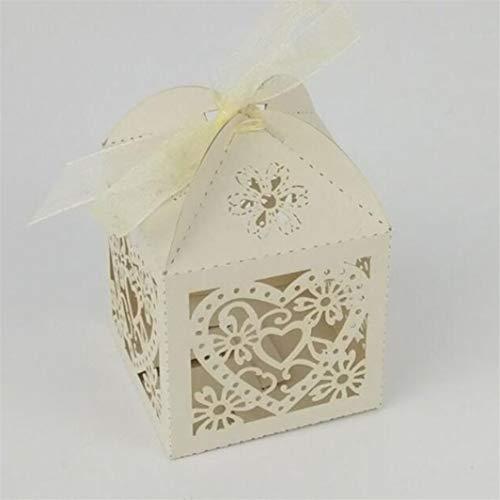 SHIJIANDE Süßigkeitskästen Verpackung Laser Cut Hohl Liebe Herz Hochzeit Gunsten Süßigkeiten Geschenke Boxen Party Dekoration Boxen Mit Band 50 stücke