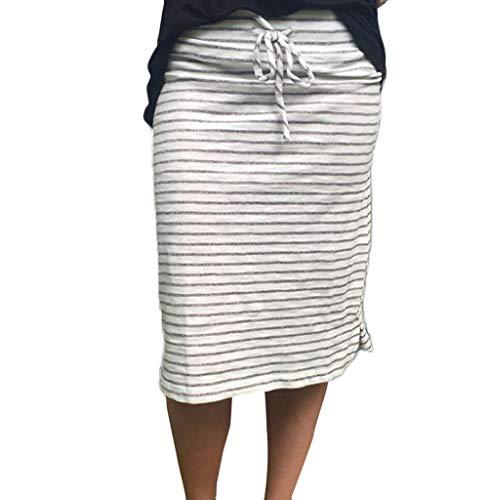 Tomatoa Damen Röcke Streifen Midirock Damen Kurzer Rock Bleistift Rock Jersey-Rock Sweatrock 100% Baumwolle Belted Jersey-shorts
