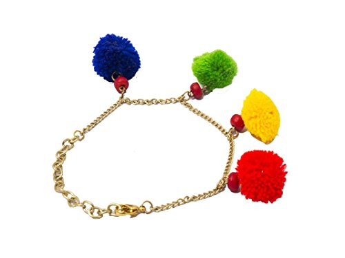 Her Rang Women's Handcrafted Gold Plated Pom Pom Fashion Bracelet, Multicolour, Lightweight