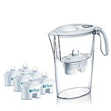 Laica J996010Il KIT comprende: 1 caraffa filtrante omaggio, 6 cartucce bi-fluxTM Mineral balance.Specifiche:Descrizione del Prodotto1 caraffa filtrante omaggio  6 cartucce = 6 mesi d'acqua  Migliora la qualità dell'acqua di rubinetto riducendo cloro,...