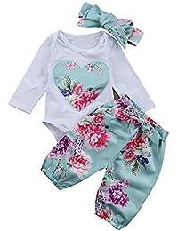 1f3402ab980e4 Yilaku Bebé Niñas Conjuntos Blusas y Pantalones y Diadema Pijama algodón  Blanco