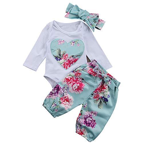 Yilaku Baby Girl Romper Suit Long Sleeve Bodysuit Cotton Romper Tops Pants Hats Clothing Suit (Blue, 3-6 Months)