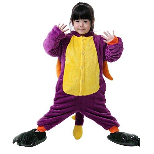 toon Tier Pyjama Flanell Anime Cosplay Kostüm Geburtstag/Karneval/Halloween/Weihnachten/Neues Jahr Geschenk Gr. Large, Violett, Dinosaurier (Anime-kostüm-ideen)