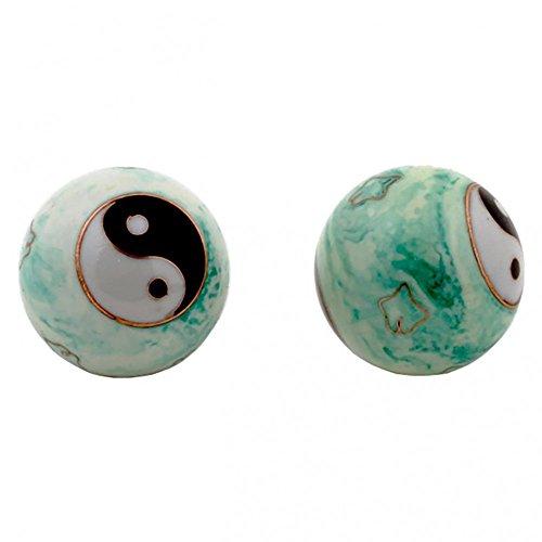 Qi Gong Kugeln 4cm mit Aufbewahrungsbox Verschiedene Varianten (Yin Yang weiß/grün)