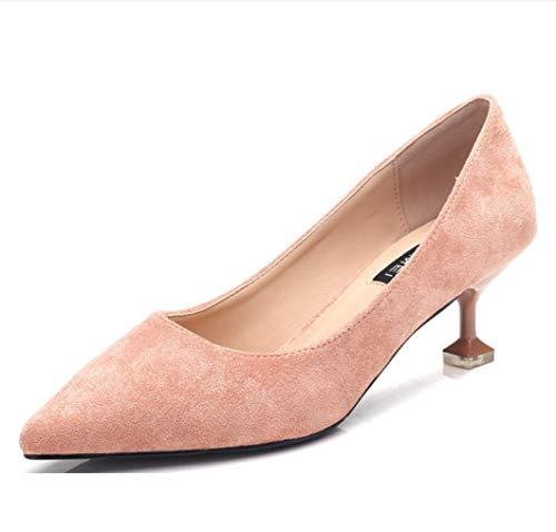 5c0eeff250ea7 LIANGXIE Señoras de Las Mujeres Slip on Toe Punta Bombas Baja Gatito  Tacones clásico Ante Corte Zapatos Vestido Mid Bombas Cerrado Toe Zapatos  de ...