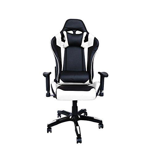 huigou HG Bürodrehstuhl Racing Stuhl Chefsessel Premium Gepolsterte Armlehnen Belastbarkeit 200 kg Ergonomischer Einstellbare Exekutivbüro Schreibtischstuhl Schwarz/weiß