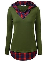 a87382bb93e8 Djt Femme Tunique Longue Carreaux Rouge pour Automne Hiver T-Shirt Epais  Col V a