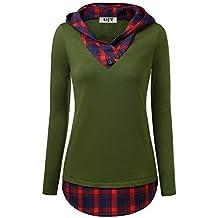 c0c89bd1bebe Djt Femme Tunique Longue Carreaux Rouge pour Automne Hiver T-Shirt Epais  Col V a