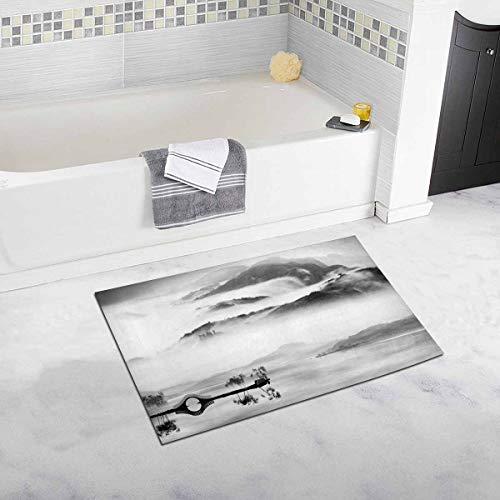 Soefipok Chinesische Traditionelle Landschaft Tinte Malerei Schwarz und Weiß Dekor Rutschfeste Bad Teppich Set Saugfähigen Fußmatten für Badezimmer Badewanne Schlafzimmer - Traditionelle-badezimmer-eitelkeit-set