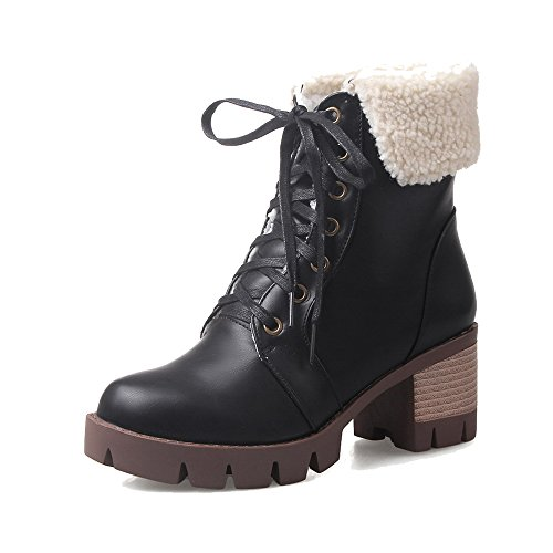 AgeeMi Shoes Femme PU Cuir Haut Demi Couleur Unie Lacet à Talon Correct Bottes Noir
