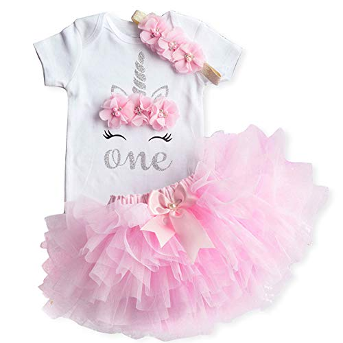 NNJXD Mädchen Newborn 1. Geburtstag 3 Stück Outfits Strampler + Tutu Kleid + Stirnband (1 Jahre, B-Pink)