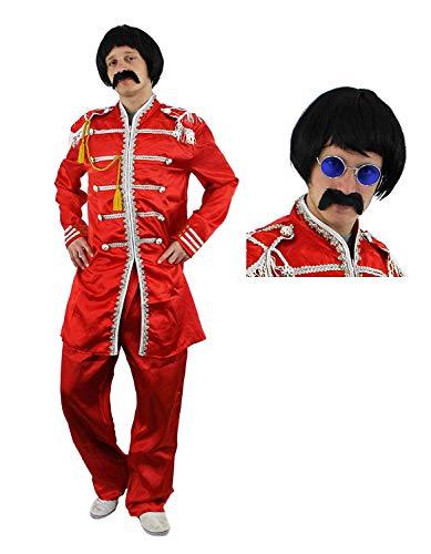 Pepper's Sgt Kostüm - Kostüm Rockband, Hippie, langes Oberteil, Hose, schwarze Perücke und Schnurrbart, farbige Brille im Hippielook, im Stil der 60er und 70er Jahre, Größen S bis XL Gr. XL, RED,GOLD