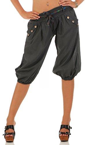 Malito Damen Pumphose in Unifarben | Lässige Kurze Hose | Bermuda für Den Strand | Haremshose - Pants 3416 (Dunkelgrau)