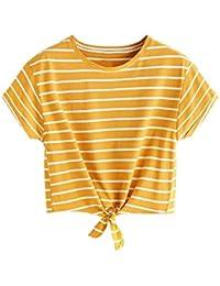 eb3a76104057f Tomwell Mujeres Verano Manga Corta Camiseta de Rayas Casual Shirt Cuello  Redondo Chaleco Tank Crop Tops