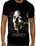 Dalsa Maglietta da Uomo Bob Marley Jamaican Reggae Music Legend Rasta Man Nero M