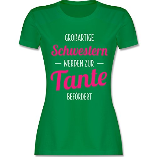 Shirtracer Schwester & Tante - Großartige Schwestern Werden zur Tante Befördert - Damen T-Shirt Rundhals Grün