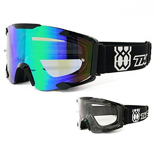 TWO-X Bomb Crossbrille schwarz Glas light verspiegelt grün - MX Brille Motocross Enduro Spiegelglas Motorradbrille Anti Scratch MX Schutzbrille