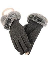Guantes de paño grueso y suave de invierno MS conejo caliente tocan los guantes de la pantalla , 1