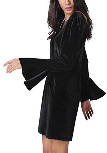 SunIfSnow - Robe spécial grossesse - Peplum - Uni - Manches Longues - Femme Noir