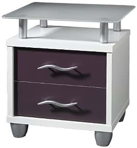 posseik 1183 12 table de chevet blanc violet. Black Bedroom Furniture Sets. Home Design Ideas