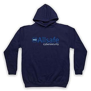 Mr Robot Allsafe Logo Adults Hoodie, Navy Blue, XL