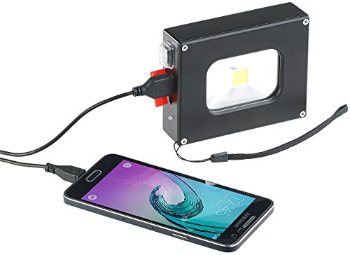 KryoLights Akku LED Fluter: Alu-LED-Fluter und 4.000-mAh-Powerbank, 10-Watt-COB-LED, 370 lm, IP44 (LED Lampe Akku)
