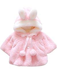 EDOTON Abrigos Bebé, Niña Infant Ropa Otoño Invierno Chaqueta con Oreja de Conejo Capucha Grueso Capa para Bebés Niña 0-36 Mes