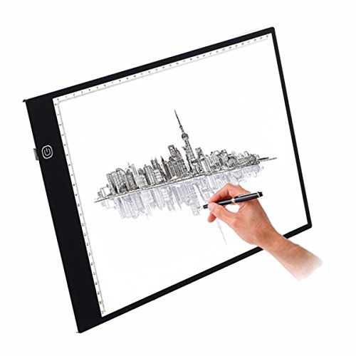 M.Way dimmbar Leuchttisch A4 LED Leuchtkasten Leuchtplatte zeichnen zubehör einstellbare Helligkeit LED Handwerk Tracing Animations Tattoo Quilting Leuchttisch mit USB Kabel