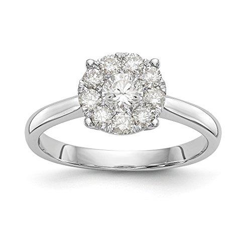 14K Weißgold Echter Diamant Verlobungsring (0.7ct, h-si2)