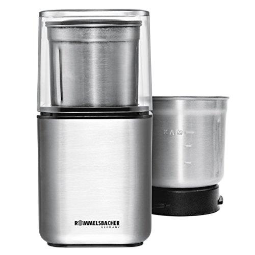 ROMMELSBACHER EGK 200 elektrische Gewürz & Kaffeemühle / 2 auswechselbare Edelstahlbehälter mit...