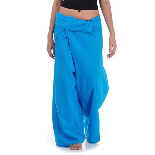 Princess of Asia Thai Fisherman Pants Wickelhose Kung Fu Karate Yoga Hose (Blau) -