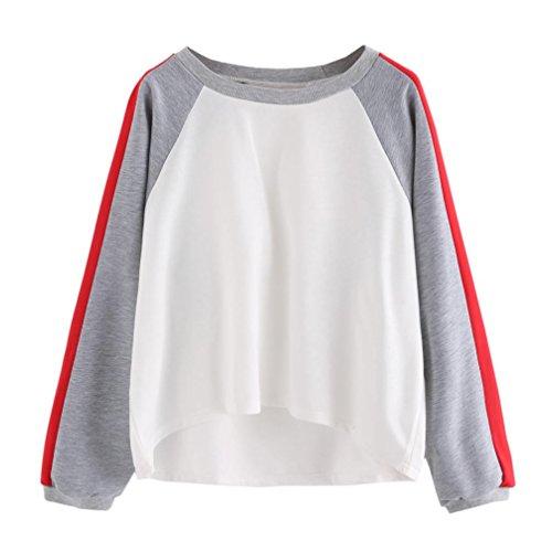 Damen Hoodie Sweatshirt AMUSTER Pullover Sweatshirt mit Rundhalsausschnitt 2017 Herbst Langarm Plus Size Patchwork Sweatshirt (S, Weiß)