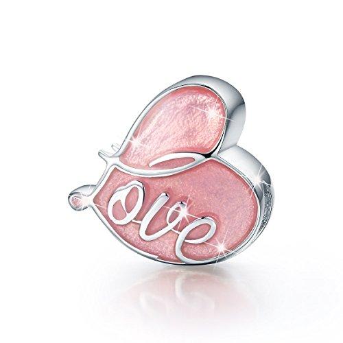 Charms cuore in argento sterling 925 compatibile con braccialetti europei pandora,eternity amore ciondoli con smalto rosa per donne e ragazze braccialetto collana regalo compleanno natale