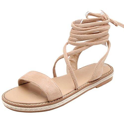 AIYOUMEI Damen Flache Gladiator Sandalen Zum Schnüren Flach Sandaletten Römersandalen mit Schnürung Schuhe Beige 34 EU
