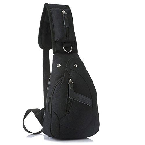BULAGE Pakete Freizeit Mode Reisen Leinwand Reiten Bequem Brusttasche Tasche Gehen Outdoor Sport Großzügig Black
