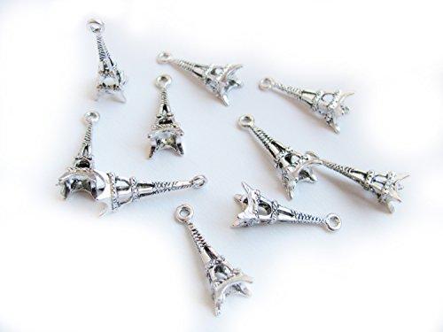 10 Metallanhänger Eifelturm, silberfarben, 2,6 cm, Anhänger, Charms (Modeschmuck Paris)