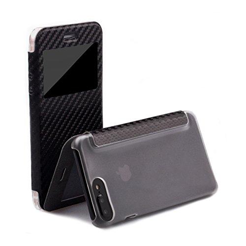 Apple iPhone 7 PLUS Custodia   Carbon nero   iCues Poblano Borsa   più fintapelle (Fibbia Combo)